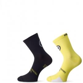 Pack de 2 paires de Socquettes ASSOS TIBURUSOCKS EVO8 voltYellow - TWIN PACK - 2 paires