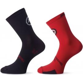Pack de 2 paires de Socquettes ASSOS TIBURUSOCKS EVO8 nationalRed - TWIN PACK - 2 paires