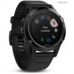 GARMIN fenix 5 HR, Sapphire Black, bracelet noir, Performer - HRM-Tri