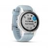 GARMIN fenix 5s Plus, Silver blanche, bracelet bleu lagon