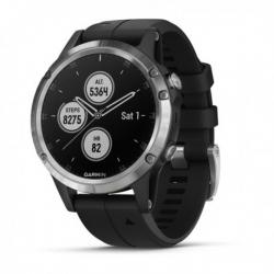 GARMIN fenix 5 Plus, Silver noire, bracelet noir