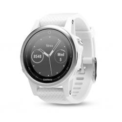 GARMIN Fenix 5S HR Silver - Bracelet Blanc Carrara - Montre GPS Running