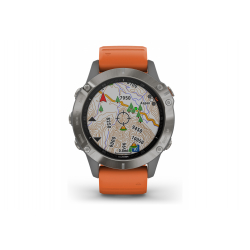 GARMIN Fénix 6 Sapphire - Titane Silver avec bracelet orange - Montre Gps Running